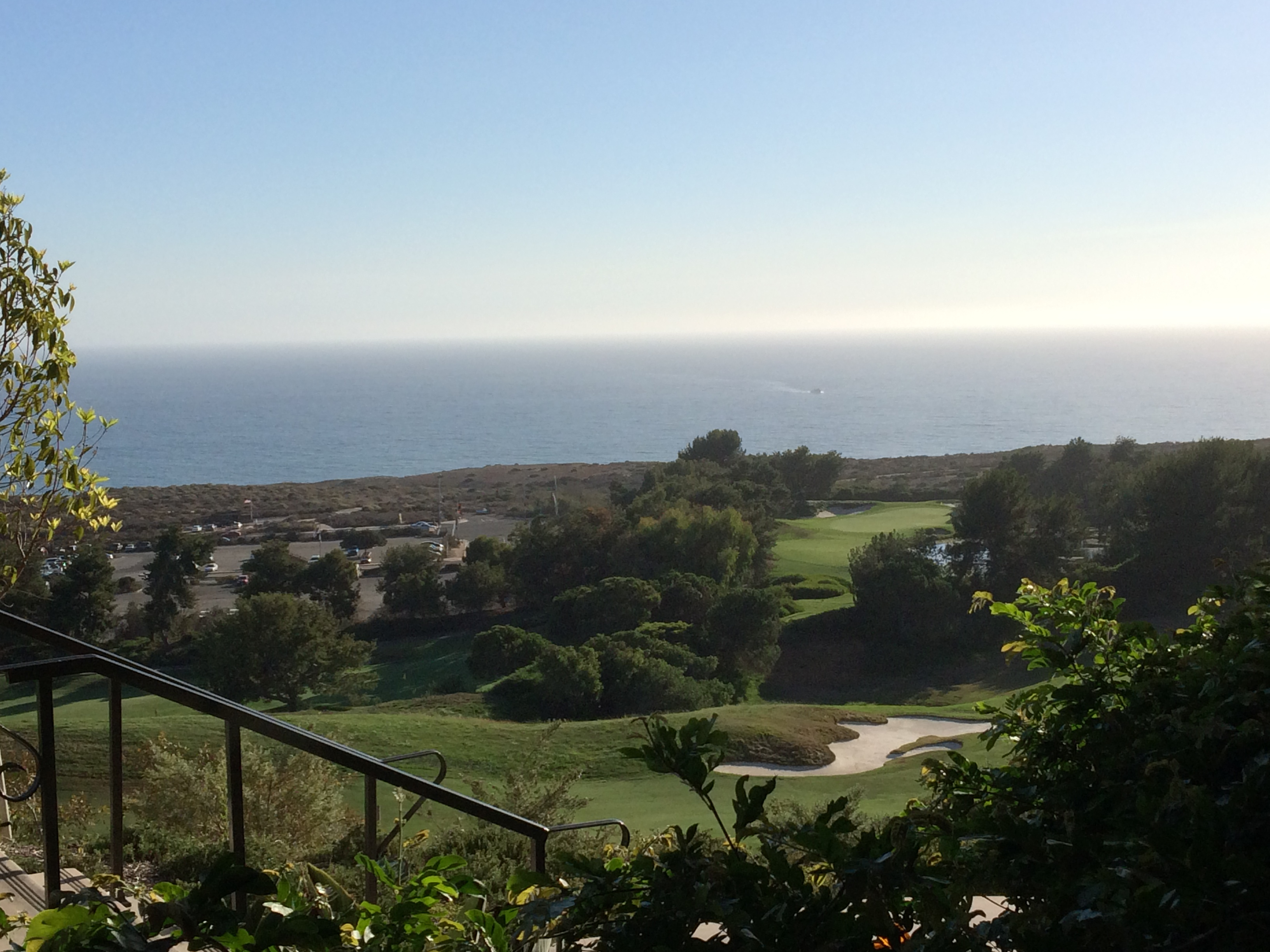 Watching a whale blow water from the balcony of our Newport Coast digs