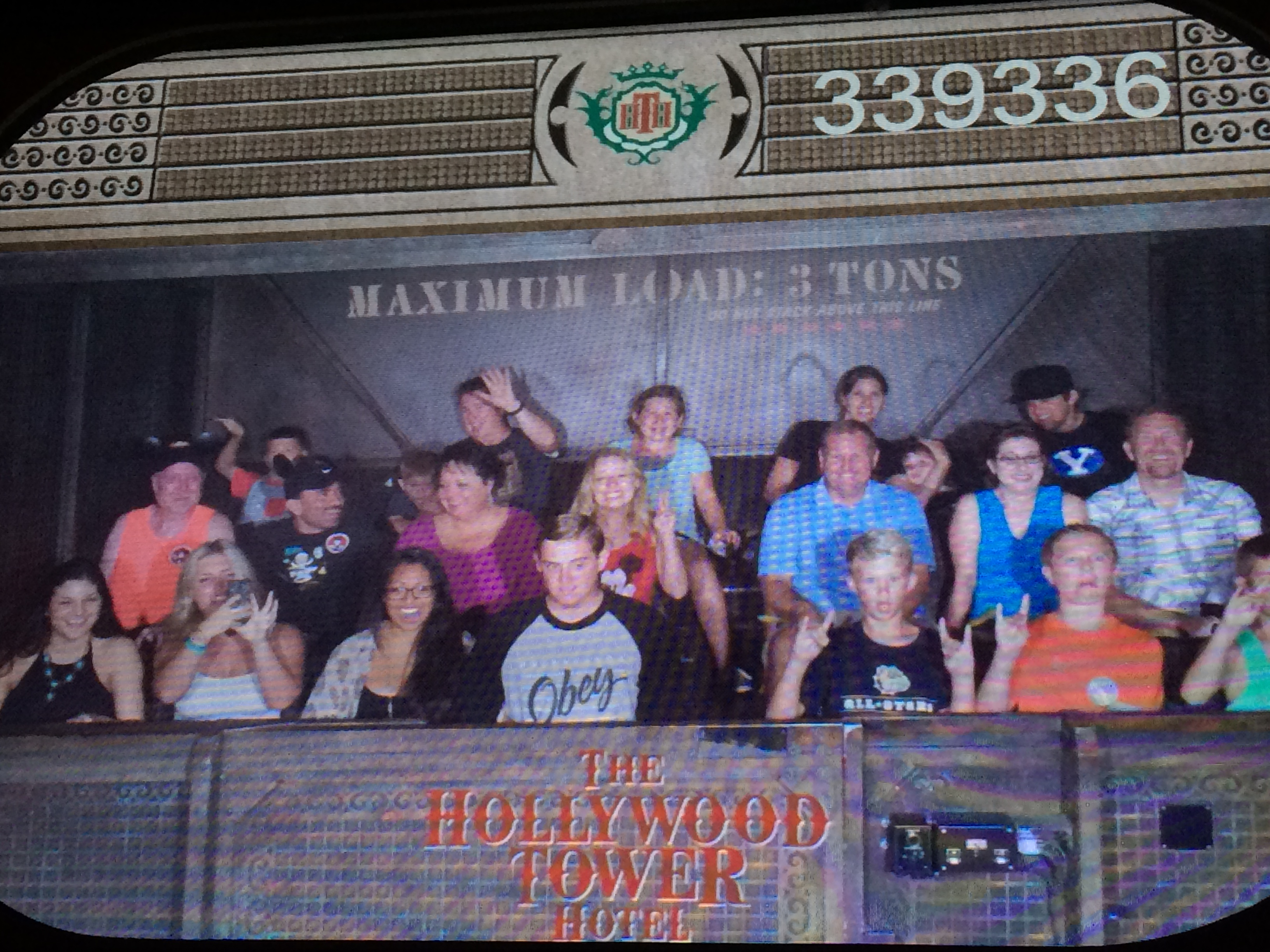 On the Tower of Terror ride - can you find us?